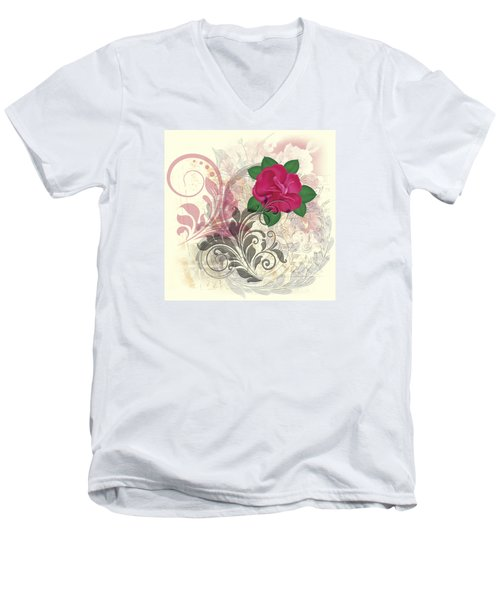 Mini Rose Flourish Men's V-Neck T-Shirt