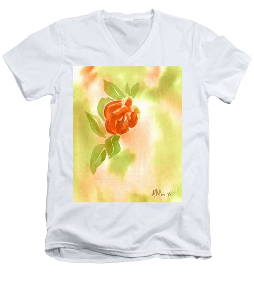 Men's V-Neck T-Shirt featuring the painting Miniature Red Rose II by Kip DeVore