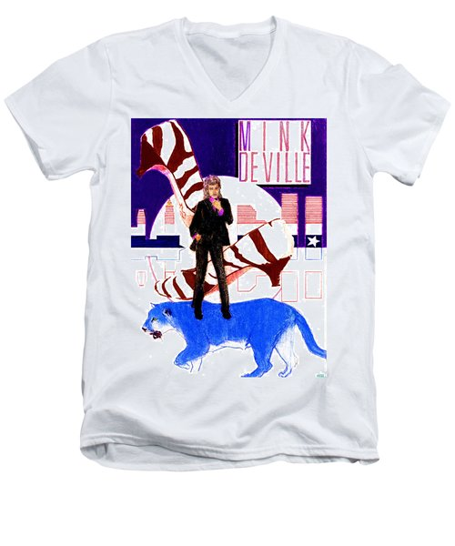 Mink Deville - Le Chat Bleu Men's V-Neck T-Shirt by Sean Connolly