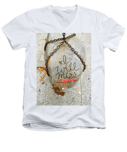 Men's V-Neck T-Shirt featuring the photograph Missing You by Joan Reese