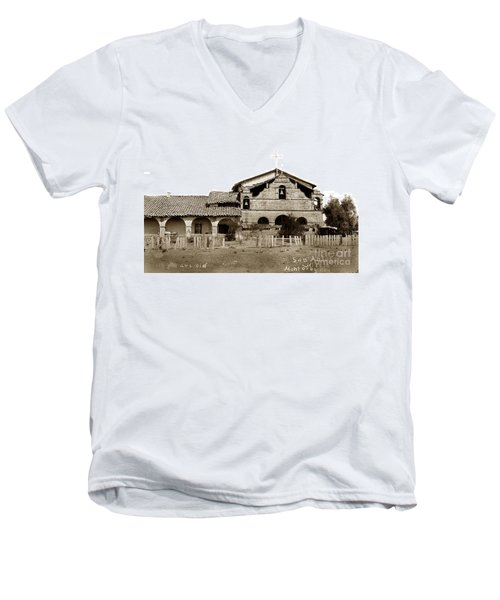 Mission San Antonio De Padua California Circa 1885 Men's V-Neck T-Shirt