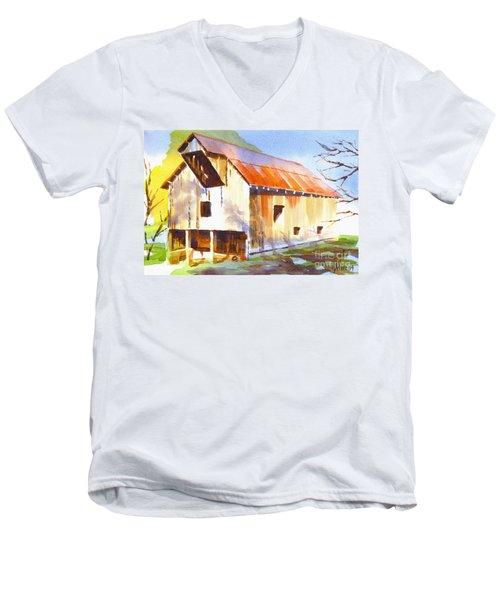 Missouri Barn In Watercolor Men's V-Neck T-Shirt by Kip DeVore