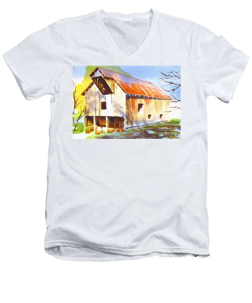 Missouri Barn In Watercolor Men's V-Neck T-Shirt