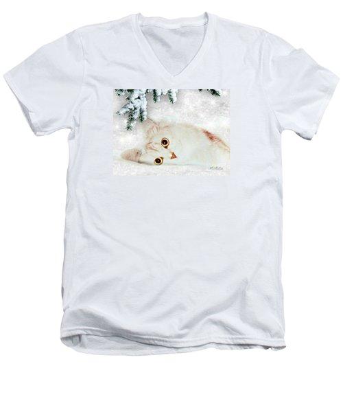 Mistletoe In The Snow Men's V-Neck T-Shirt