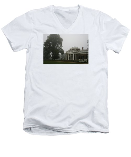 Misty Morning At Monticello Men's V-Neck T-Shirt by Christiane Schulze Art And Photography
