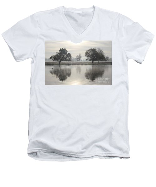 Misty Morning In Bushy Park London 2 Men's V-Neck T-Shirt