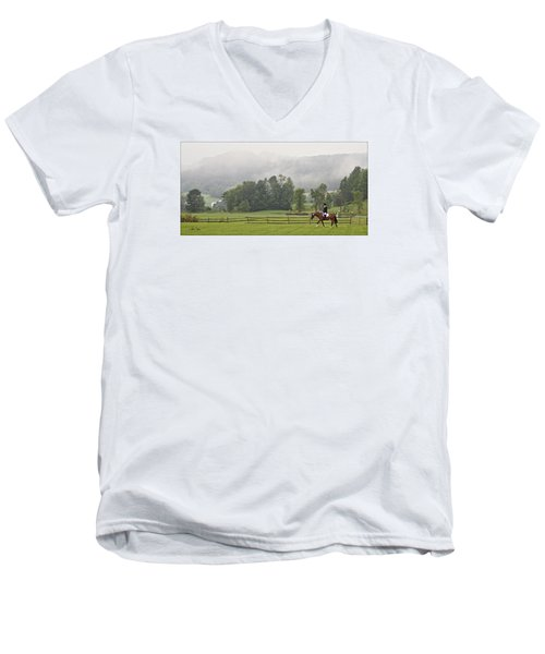 Men's V-Neck T-Shirt featuring the photograph Misty Morning Ride by Joan Davis