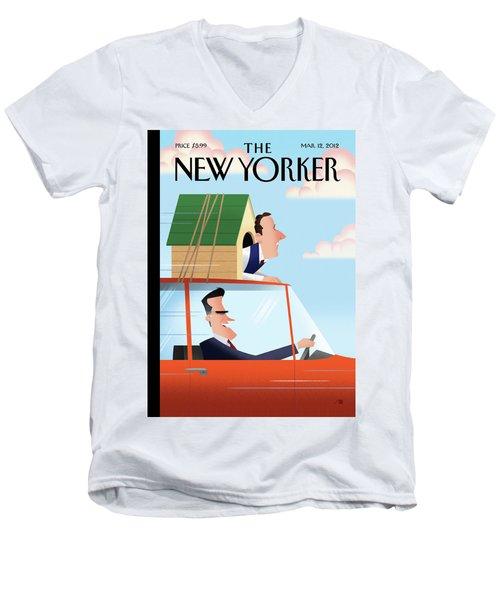 Mitt Romney Driving With Rick Santorum In A Dog Men's V-Neck T-Shirt