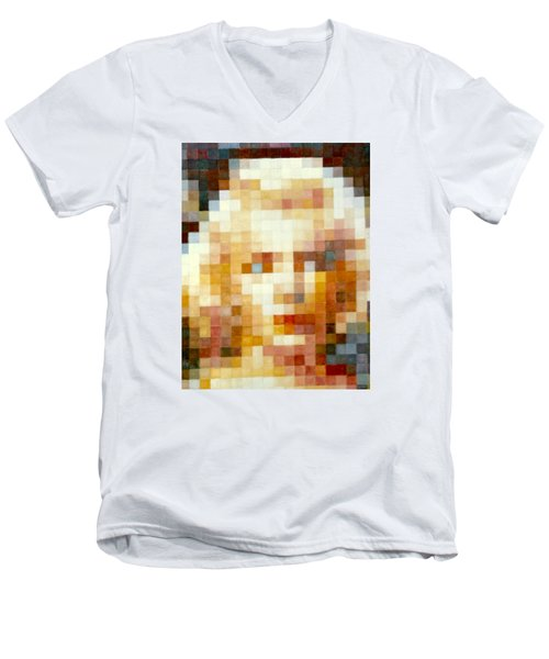 Men's V-Neck T-Shirt featuring the painting Marylin by Henryk Gorecki