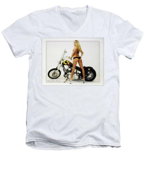 Models And Motorcycles_j Men's V-Neck T-Shirt