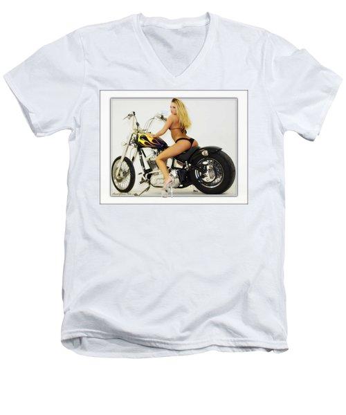 Models And Motorcycles_k Men's V-Neck T-Shirt