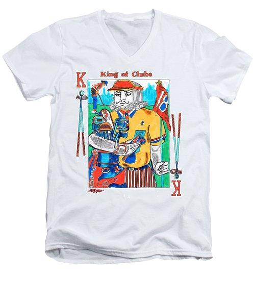 Modern King O' Clubs Men's V-Neck T-Shirt by Seth Weaver