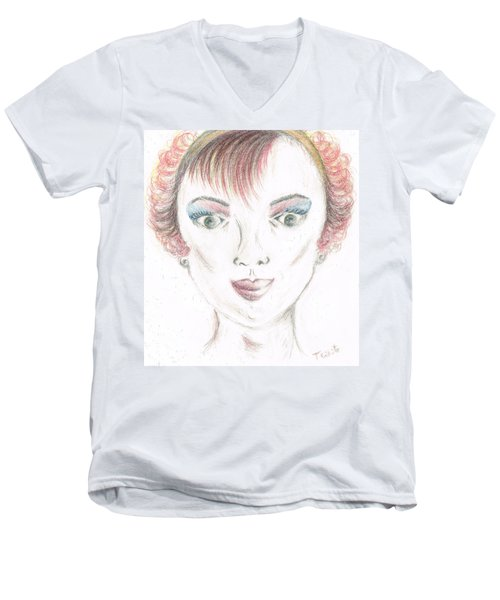 Men's V-Neck T-Shirt featuring the drawing Mollys Makeover/ Pink Day by Teresa White