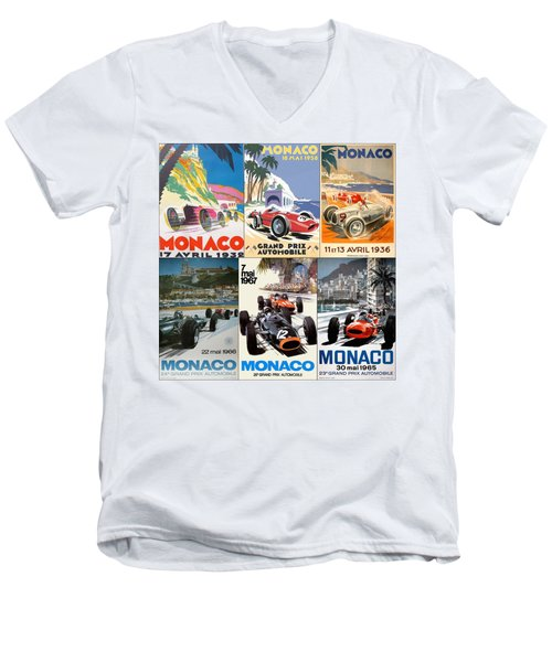 Monaco F1 Grand Prix Vintage Poster Collage Men's V-Neck T-Shirt