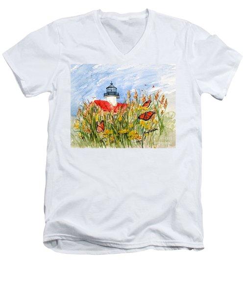 Monarch Butterflies At East Point Light Men's V-Neck T-Shirt
