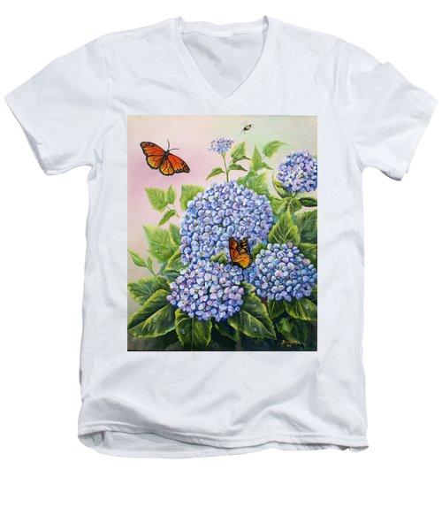 Monarchs And Hydrangeas Men's V-Neck T-Shirt by Gail Butler