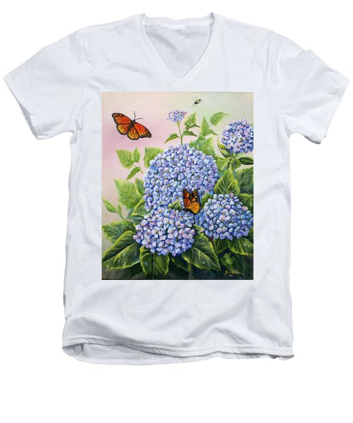 Monarchs And Hydrangeas Men's V-Neck T-Shirt