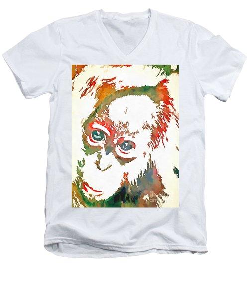 Monkey Pop Art Men's V-Neck T-Shirt by Catherine Lott