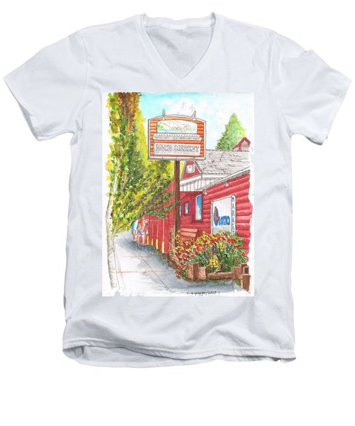Mono Market Near Mono Lake In Lee Vining-california Men's V-Neck T-Shirt