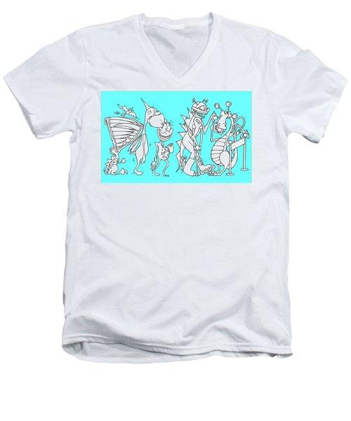 Monster Queue Blue Men's V-Neck T-Shirt