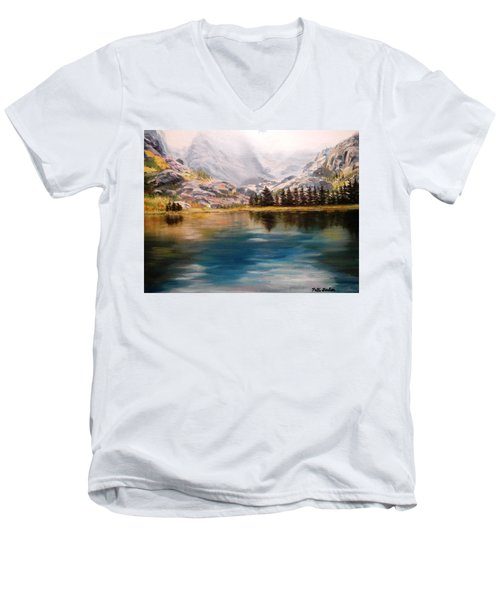 Montana Reflections Men's V-Neck T-Shirt by Patti Gordon