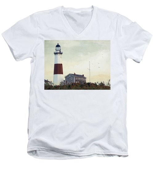Montauk Dusk Men's V-Neck T-Shirt by Keith Armstrong