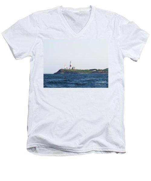 Montauk Lighthouse From The Atlantic Ocean Men's V-Neck T-Shirt by John Telfer