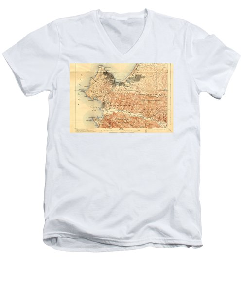 Monterey And Carmel Valley  Monterey Peninsula California  1912 Men's V-Neck T-Shirt by California Views Mr Pat Hathaway Archives