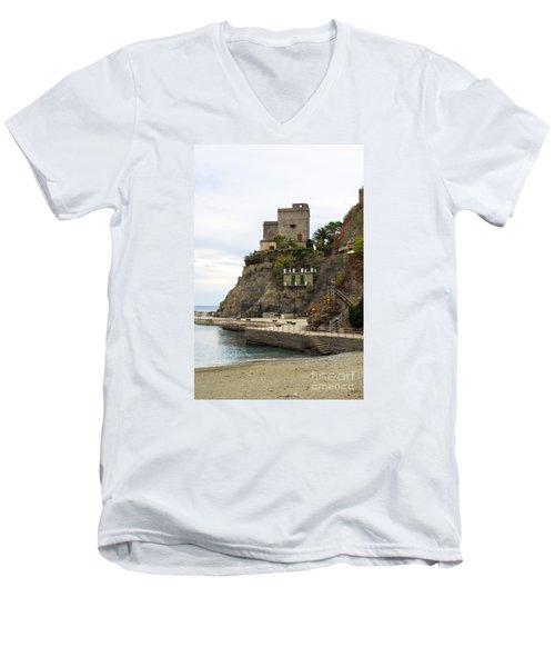 Monterosso Harbor Pier Men's V-Neck T-Shirt