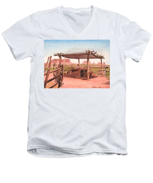 Monument Valley Overlook Men's V-Neck T-Shirt by Mike Robles