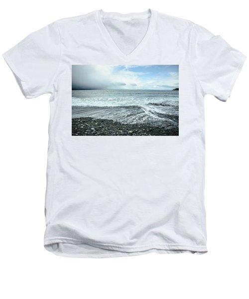 Moody Waves French Beach Men's V-Neck T-Shirt by Roxy Hurtubise