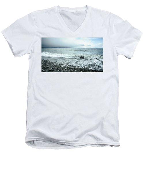 Moody Shoreline French Beach Men's V-Neck T-Shirt by Roxy Hurtubise