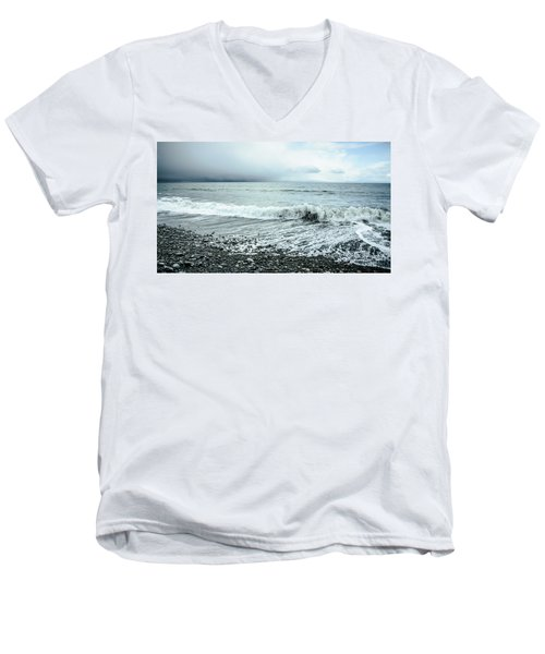 Moody Shoreline French Beach Men's V-Neck T-Shirt