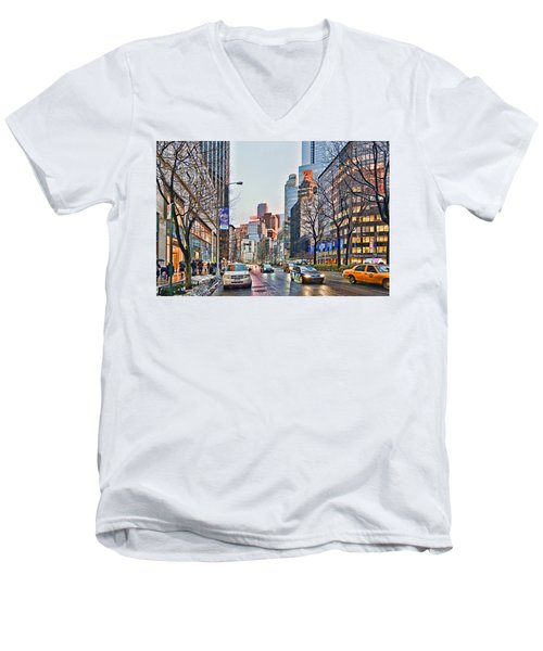 Moody Afternoon In New York City Men's V-Neck T-Shirt