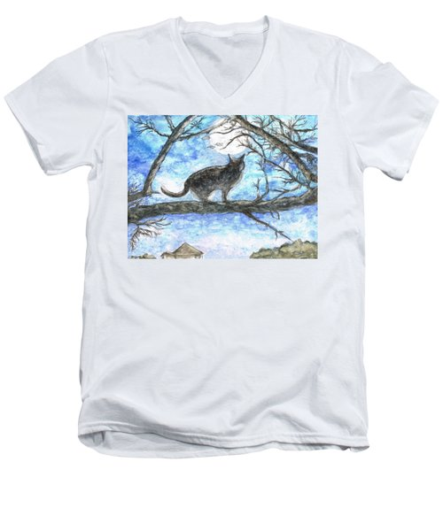Moon Cat Men's V-Neck T-Shirt by Teresa White