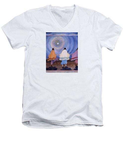 Moondance Men's V-Neck T-Shirt by Lynda Hoffman-Snodgrass