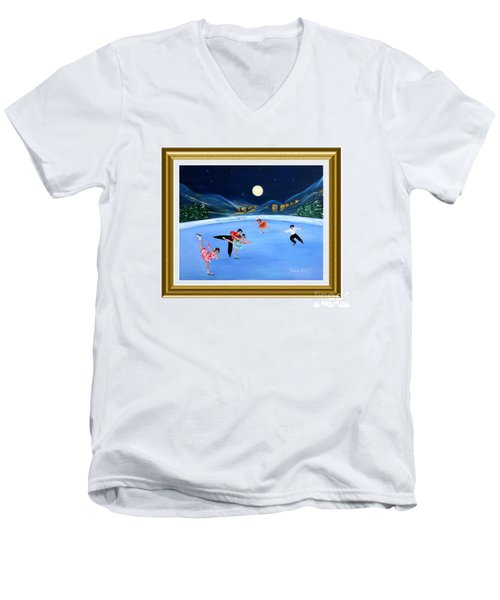 Moonlight Skating. Inspirations Collection. Card Men's V-Neck T-Shirt