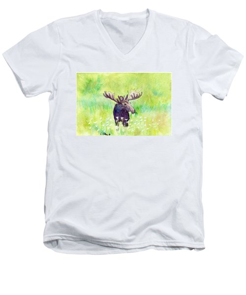 Moose In Flowers Men's V-Neck T-Shirt by C Sitton
