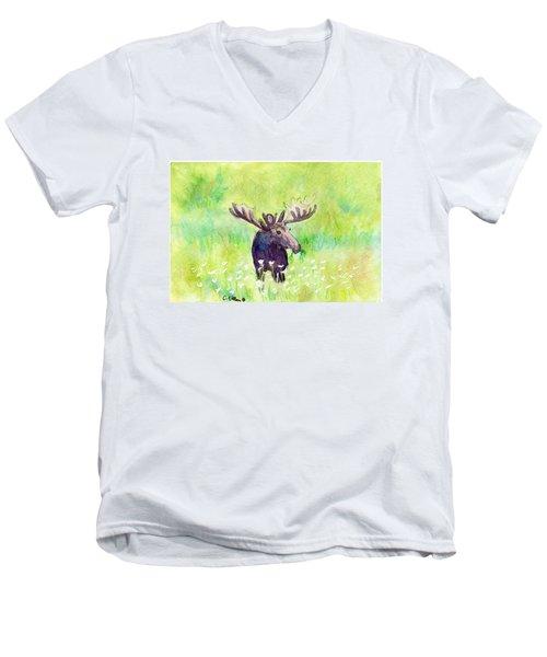 Moose In Flowers Men's V-Neck T-Shirt