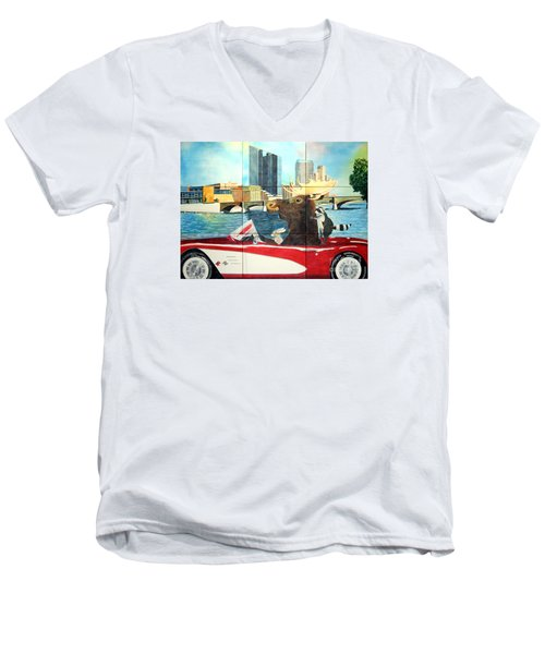 Men's V-Neck T-Shirt featuring the painting Moose Rapids Il by LeAnne Sowa
