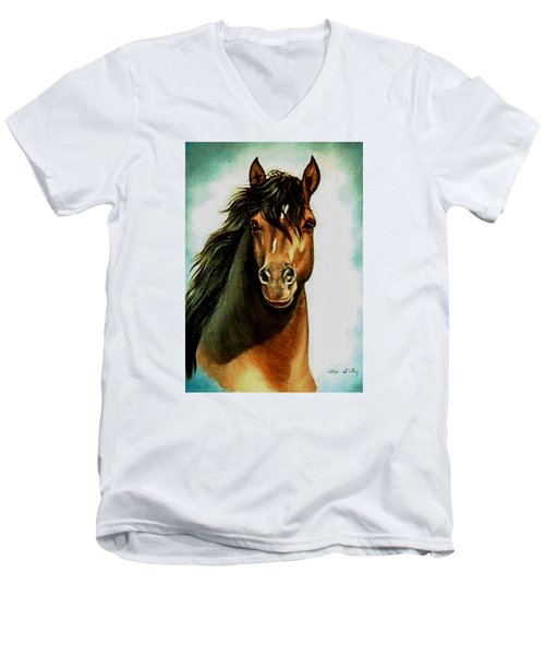 Men's V-Neck T-Shirt featuring the painting Morgan Horse by Loxi Sibley