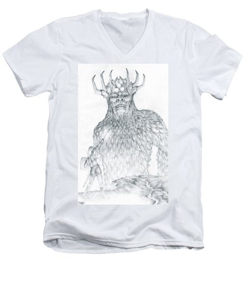 Men's V-Neck T-Shirt featuring the drawing Morgoth And Fingolfin by Curtiss Shaffer