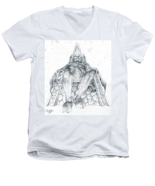 Men's V-Neck T-Shirt featuring the drawing Morgoth Bauglir by Curtiss Shaffer