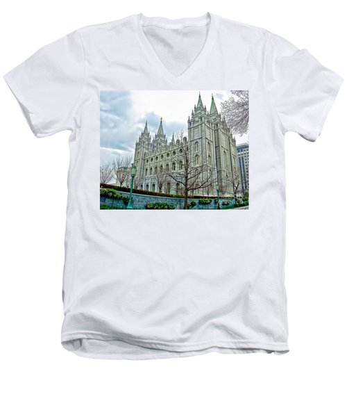 Mormon Temple In Early Spring Men's V-Neck T-Shirt