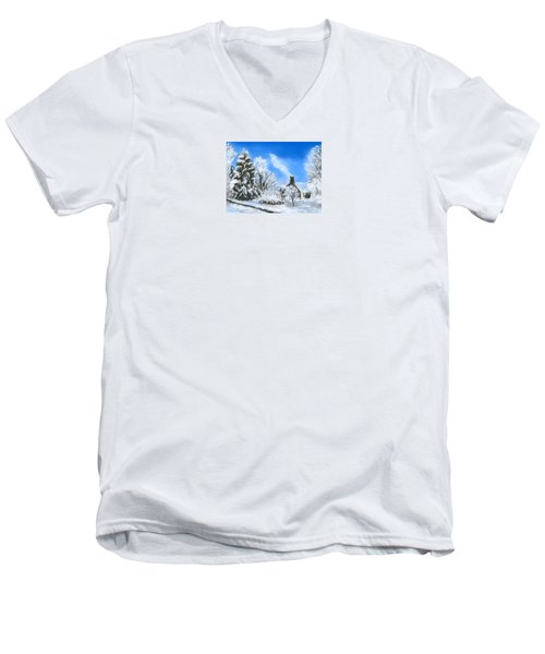 Men's V-Neck T-Shirt featuring the painting Morning After The Snowstorm  by Jean Pacheco Ravinski