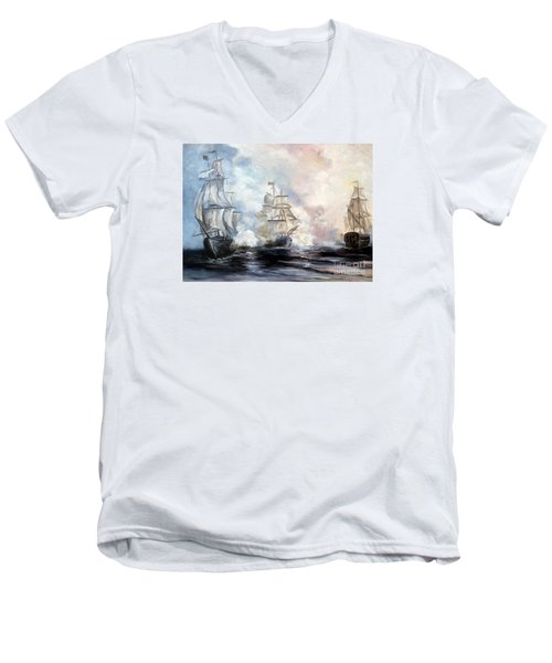 Men's V-Neck T-Shirt featuring the painting Morning Battle by Lee Piper