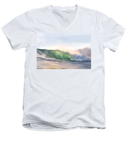Men's V-Neck T-Shirt featuring the painting Morning Break by Dawn Harrell
