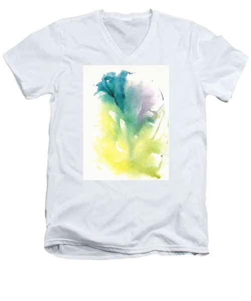 Men's V-Neck T-Shirt featuring the painting Morning Glory Abstract by Frank Bright