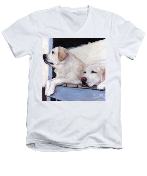 Morning Glory Men's V-Neck T-Shirt by Molly Poole