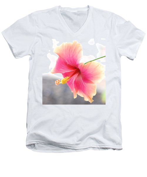 Morning Hibiscus In Gentle Light - Square Macro Men's V-Neck T-Shirt by Connie Fox